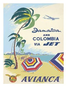 Jamaica and Colombia Vintage Travel Poster - Poster Paper, Sticker or Canvas Print / Gift Idea Jamaica, Airline Travel, Travel Ads, Air Travel, Travel Packing, Kunst Poster, Vintage Travel Posters, Vintage Airline, Poster Vintage