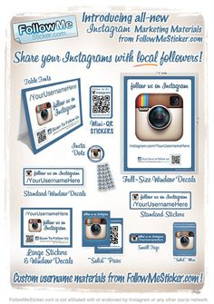 Announcing all-new Marketing Materials for brand awareness of your Instagram Pages! http://followmesticker.com/products - featuring Instagram Stickers, Instagram Table Tents, and many more options to help your brand develop more local #instagram followers! Our Table Tents are the most popular item right now!