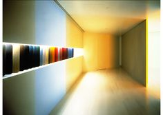 "Hauserman Showroom. Los Angeles. 1982. Movable walls creating a series of corridors, each with a different light installation by the artist Dan Flavin. ""It was an incredible experience, a great art installation."" Description, Vignelli website"