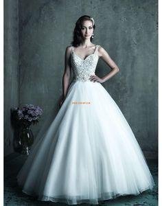 Escote en V Sin Mangas Cremallera Vestidos de novias 2014