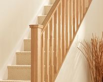 The Oak spindle adds the finishing touches to your stairs. These spindles can be painted or stained to any colour of your choice. Stair Spindles Wood, Wooden Staircase Design, White Staircase, Staircase Railings, Wooden Staircases, Railing Design, Loft Staircase, Staircase Ideas, Banisters