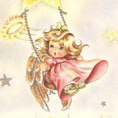 Pretty in Pink Angel Swinging Vintage Christmas Card