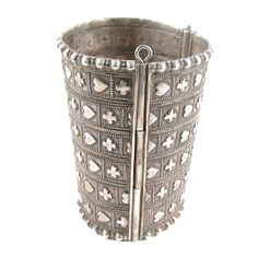Nice old silver cuff from Sindh or Rajasthan, tapered design for easy wear. Great heart and club motif, probably inspired by English playing cards.