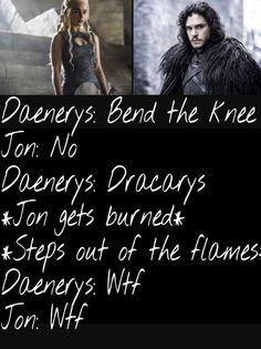 WTF?! Game of Thrones funny humour meme. Jon Snow, Daenerys Targaryen, season 7. Kit Harington, Emilia Clarke