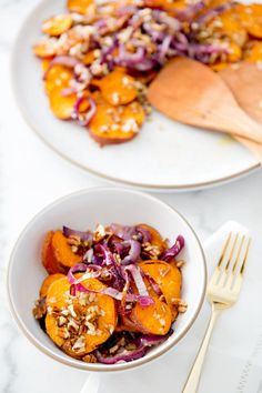 Roasted sweet potato and red onion salad