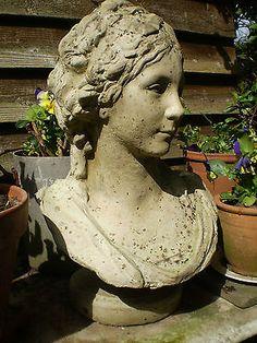Gorgeous Vintage French Art Nouveau Lady bust garden statue - The Garden Room