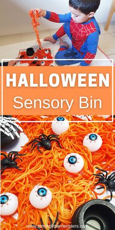 Learn how to make this Halloween themed sensory bin out of rainbow pasta. Turn spaghetti into this taste-safe sensory activity for babies, toddlers and preschoolers.    #halloween #sensory #babies #baby #toddler #preschooler Sensory Bins, Sensory Activities, Infant Activities, Sensory Play, Halloween Activities For Kids, Halloween Themes, Rainbow Pasta, Orange Food Coloring, Cute Pumpkin