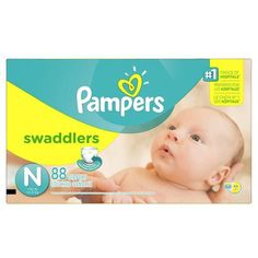 Pampers Swaddlers Diapers Super Pack, Sizes N, 1, 2, 3, 4, 5 - Free Shipping