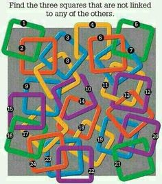 From Puzzlers World [find by Nicole Cremeens] Link: http://puzzlersworld.com/picture-puzzles/three-squares-not-linked-to-others/