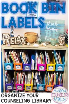 School Counselors, these book bin labels can be used to help you organize your counseling library! School Counselor Office, Counseling Office Decor, School Counseling, Book Bin Labels, Book Bins, Counseling Activities, Book Categories, Lesson Plans, Organize