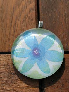 Watercolor Flower Glass Pendant