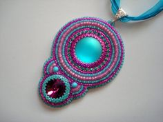 Bead embroidery pendant with Lunasoft cabochon by Beabead on Etsy, Ft15000.00