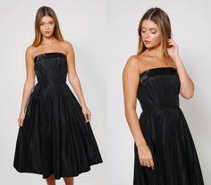 Vintage 50s Black COCKTAIL Dress ROCKABILLY Swing Dress by LotusvintageNY