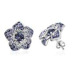 Violet Swarovski Crystal Flower Earrings in Sterling Silver by @Helzberg Diamonds Diamonds#helzberg #earrings #aislestyle Enter the Aisle Style Sweeps for a chance to win up to $3,000 in gift certificates from David's Bridal & Helzberg Diamonds! Enter now thru 9/2: http://sweeps.piqora.com/aislestyle Rules: http://sweeps.piqora.com/contests/contest/content/davidsbridal.com/310/rules