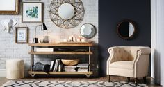 Industrial  Mood:   Stylish, practical    Tip:   This mix of modern and rustic is a perfect example of form meeting function. Loaded with style, it also offers a lot of storage.    Console tables starting at $399.99