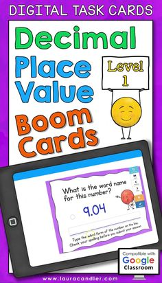 Decimal Place Value interactive, self-checking Boom Cards are a fun way for kids to practice place value concepts using numbers with digits in the tenths and/or hundredths places. These digital task cards are perfect for distance learning! Includes two versions: Common Core and traditional place value terminology. #decimals #decimalactivities #decimalplacevalue #BoomCards #DigitalTaskCards #DistanceLearning #mathboomcards #mathfun Engage In Learning, Early Learning Activities, Project Based Learning, Number Games Preschool, Learning Numbers, Math For Kids, Fun Math, Place Value With Decimals, Math Answers