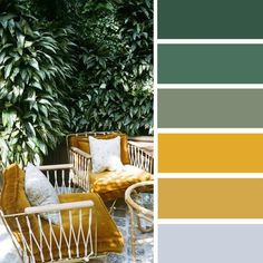 Which color matches yellow? Furnishing ideas and combinations- Welche Farbe passt zu Gelb? Einrichtungsideen und Kombinationen Which color matches yellow? Living ideas and … - Palette Verte, Green Colour Palette, Color Palettes, Colour Yellow, Room Color Schemes, Green Color Schemes, Interior Design Color Schemes, Color Schemes For Bedrooms, My New Room