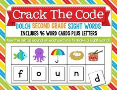 Students will find the initial (beginning) sound of each                                     picture and place that letter in the box under the picture.  When all boxes are filled, they will read the sight word they have made. This kit includes all 46 Second Grade Dolch Sight Words.