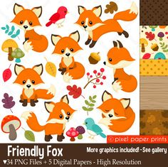 Fox clipart - FRIENDLY FOX - Clip Art and Digital paper set by pixelpaperprints on Etsy https://www.etsy.com/uk/listing/483141782/fox-clipart-friendly-fox-clip-art-and