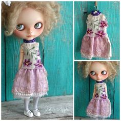 Blythe doll outfit *Gentianas* OOAK vintage embroidered dress