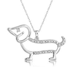 $24.99 - Dachsund Pendant with 1/10 Carat Diamond in Sterling Silver