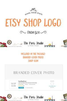 Etsy Shop Logo Custom cover photos shop icons watercolor floral logo branding design
