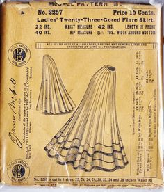 Set of four Victorian-era skirt patterns by McCall. Genuine antique. Great for plays, re-enactments, Steampunk! 33% off!