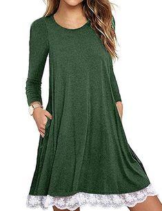 a5919048217c41 Halife Women s Summer Fall Short Long Sleeve Lace Hem T-Shirt Loose Dress  with Pockets