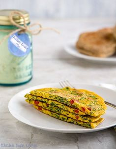 Chickpea Omelet Mix: it's easy to make chickpea flour omelets (vegan and gluten-. - Chickpea Omelet Mix: it's easy to make chickpea flour omelets (vegan and gluten-free) when you ha - Vegan Breakfast Recipes, Vegetarian Recipes, Healthy Recipes, Quick Vegan Breakfast, Chickpea Flour Recipes, Breakfast Ideas, Vegan Foods, Vegan Dishes, Whole Food Recipes