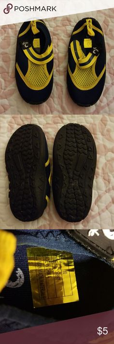 Kids water shoes Blue and yellow kids Velcro water shoes....never worn Triangle Shoes Slippers