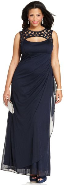 Xscape Plus Size Lasercut Embellished Gown in Blue (Navy)