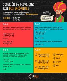 Solución-de-ecuaciones-con-dos-incógnitas (1) Physics Formulas, Algebra Worksheets, School Study Tips, Simple Math, School Hacks, Math Lessons, Mathematics, High School, Knowledge