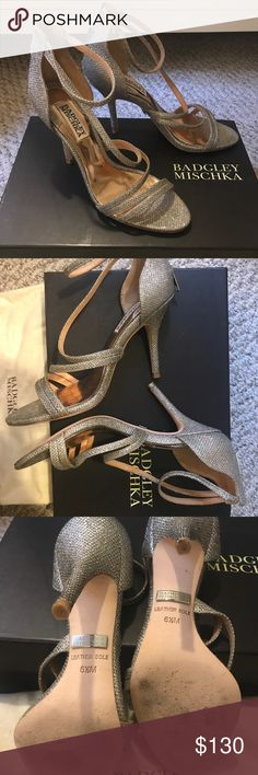 Badgley Mischka Landmark Strappy Heels Platino 6.5 Badgley Mischka Landmark Strappy Heels in size 6.5 - like new with box and dust bag - only wore for a couple hours during a wedding ceremony Badgley Mischka Shoes Heels