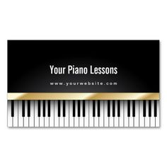 Piano teacher business card teacher business cards and business cards gold stripe piano lessons dark business card colourmoves