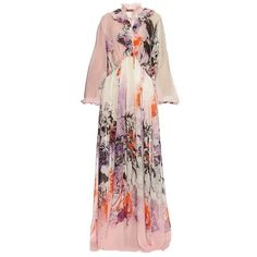 Roberto Cavalli Kimono Floral Print Silk Georgette Gown (3,292,895 KRW) ❤ liked on Polyvore featuring dresses, gowns and roberto cavalli