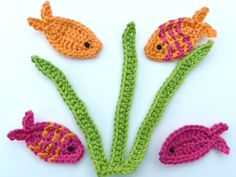 Aplique de Peixes em Crochê  - /    Apply at Fishs upon Crocheting -