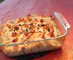 SIDE // Baked Cauliflower Casserole. Cauliflower, onion, bacon and coconut milk give this casserole a creamy, potato-like texture but without the grain and dairy.