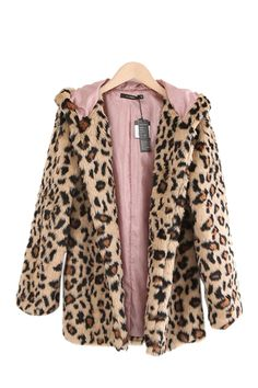 fca990e7f70a This plush coat crafted in faux fur, featuring a hood detail, an animal  print design, in medium length cut, all in regular fit.