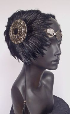 Black & Silver Headdress by MissGDesignsShop on Etsy, $185.00