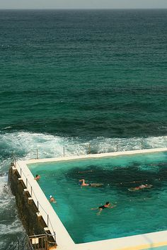 The amazing Sydney ocean pool at the rocky outcrop of Bondi Beach The best part besides the breathtaking views is that the waves crash over the edge of the pool.
