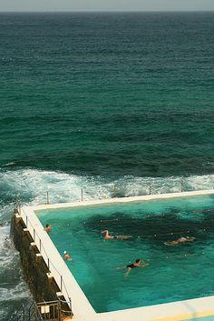 Bondi Beach in Sydney.  Swim club called the Icebergs because they swim year round in ocean baths.Looks awesome!