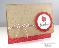 Teacher Card Thank You Teacher Teacher by happilyevercrafter Teacher Appreciation Cards, Teacher Gifts, Thanks Teacher, End Of School Year, Cellophane Bags, Apples, Hand Stamped, Stampin Up, Greeting Cards