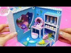 DIY Miniature little mermaid room ~ Arie Little Mermaid Room, Mermaid Dolls, Diy Dollhouse, Miniature Dolls, Craft Videos, Doll Houses, Diorama, Frame, Crafts