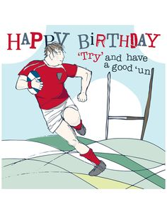 Happy birthday rugby card by Molly Mae. Perfect for men and boys on their birthday. Blank inside for your own message. Same day dispatch. Rugby fan card.