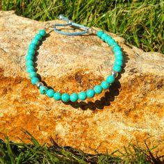 Turquoise Stacking Bracelet by AppleBlossomJewel on Etsy Turquoise Bracelet, Beaded Bracelets, Jewellery, Etsy, Jewels, Pearl Bracelets, Schmuck, Jewelry Shop, Jewlery