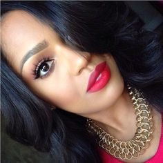 """The perfect Red Lips  @MakeupShayla ❤ LASHES:: #FlutterLashes in """"ASHLEY"""" ✨Visit us at www.FlutterLashes.com✨ #ladyinred #beautifil #lashes #red"""