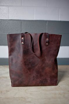 For work  Hand Sewn Leather Tote (Burgundy)
