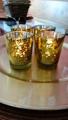 Gold Mercury Glass Votives w/ Battery Operated by TheRusticRoom