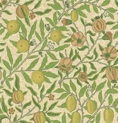 Fruit (WR8048/2) - Morris Wallpapers - The classic fruit design by William Morris. Available in 3 colourways.  Please ask  for a sample for true colour match.