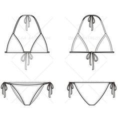 {Illustrator Stuff} Women's Triangle Bikini Fashion Flat Template Source by Fashion Sketch Template, Fashion Design Template, Fashion Templates, Diy Design, Swimwear Fashion, Bikini Fashion, Bikini Swimwear, Sexy Bikini, Swimsuits